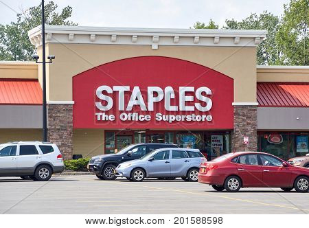 PLATTSBURGH USA - AUGUST 23 2017 : Staples store and logo. Staples Inc. is an American multinational office supply retailing corporation with over 1500 stores in North America.