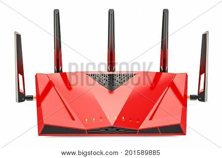Red wireless internet router 3D rendering isolated on white background