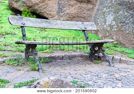 Empty Old Wooden Bench In The Park.