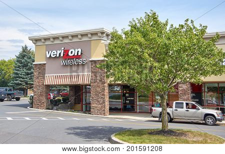 PLATTSBURGH USA - AUGUST 23 2017 : Verizon Wireless store and logo. Verizon Wireless is an American telecommunications company a wholly owned subsidiary of Verizon Communications