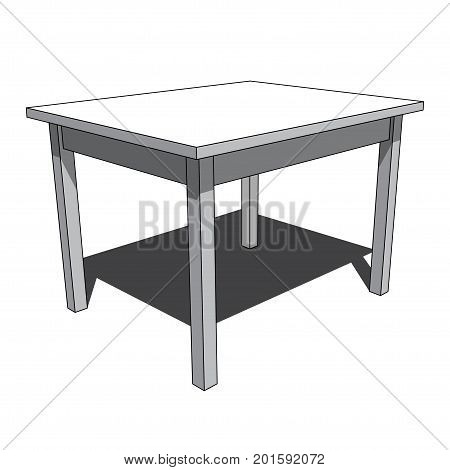 three dimensional illustration - grayscale simple isolated desk with shadow in front of a white background
