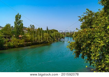Manavgat river in Manavgat city. Turkey land