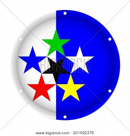 round metallic flag - Flags of the World with six screw holes in front of a white background