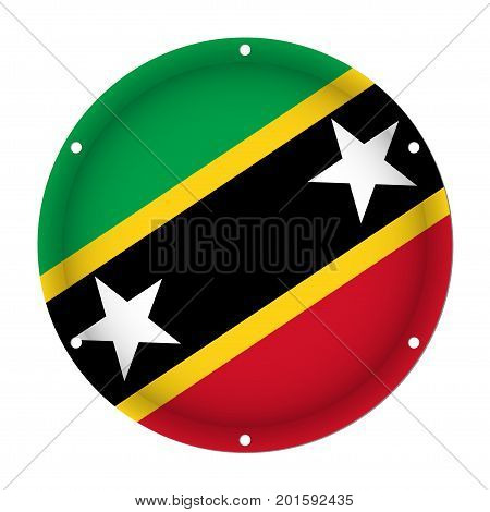 round metallic flag of Saint Kitts and Nevis with six screw holes in front of a white background