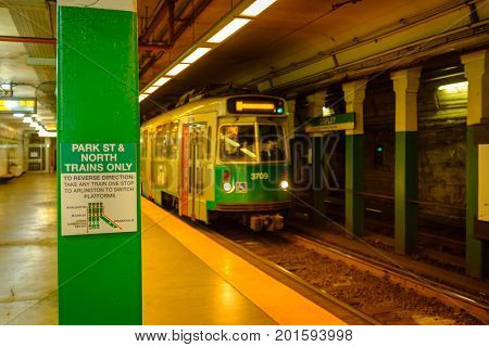 Green Line T, Copley Station Subway in Boston