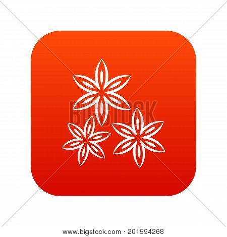 Star anise icon digital red for any design isolated on white vector illustration