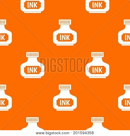 Black ink bottle pattern repeat seamless in orange color for any design. Vector geometric illustration