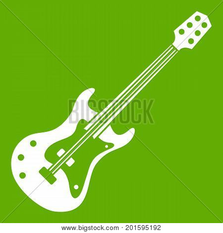 Classical electric guitar icon white isolated on green background. Vector illustration