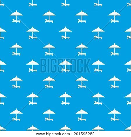Bench and umbrella pattern repeat seamless in blue color for any design. Vector geometric illustration