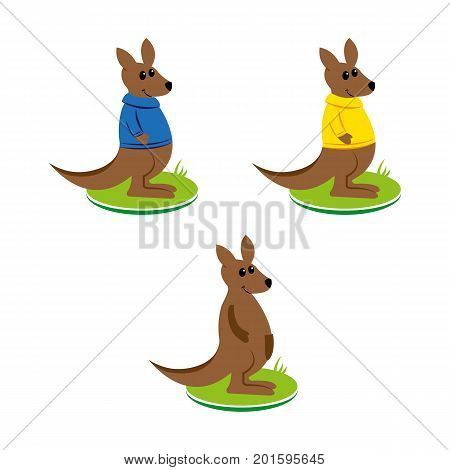 A set of kangaroo characters wearing different pullovers poster
