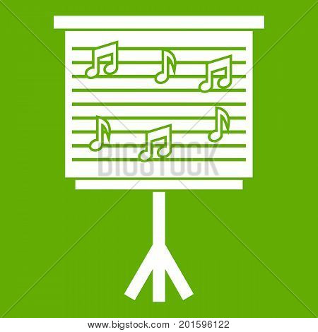 Whiteboard with music notes icon white isolated on green background. Vector illustration