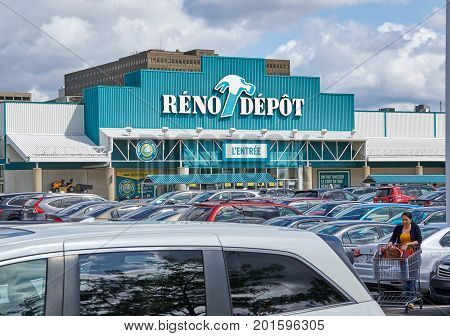 PLATTSBURGH USA - AUGUST 23 2017 : Reno Depot store and parking. Reno-Depot is a Canadian chain of home supply stores owned by Lowe's