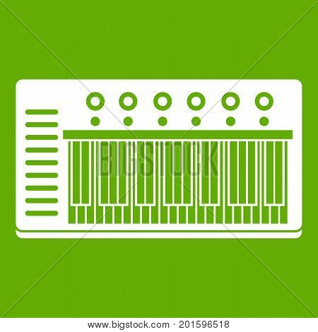 Electronic synth icon white isolated on green background. Vector illustration