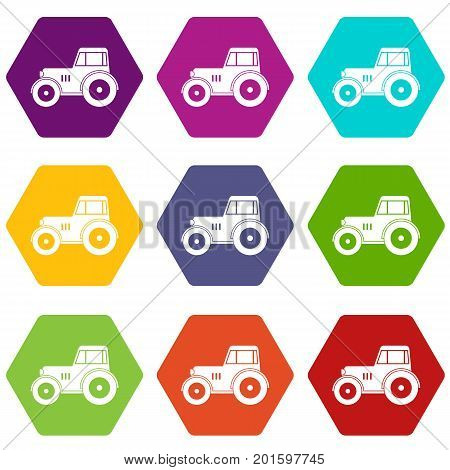 Tractor icon set many color hexahedron isolated on white vector illustration