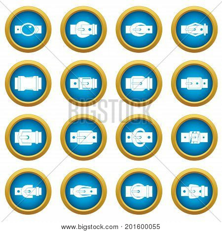 Belt buckles icons blue circle set isolated on white for digital marketing