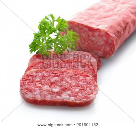 Delicious sliced sausage on white background