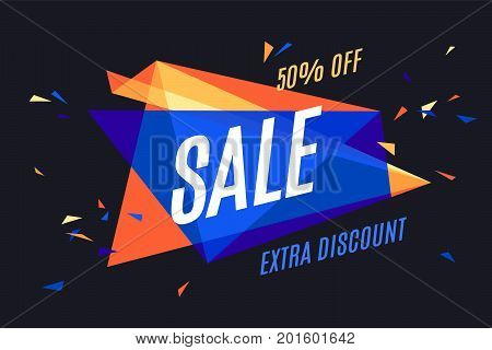 Colorful banner with text Sale, Extra Discount. Design explosion elements for sale theme, shop, market. Poster for sale and discount on black background. Geometric graphic design. Vector Illustration