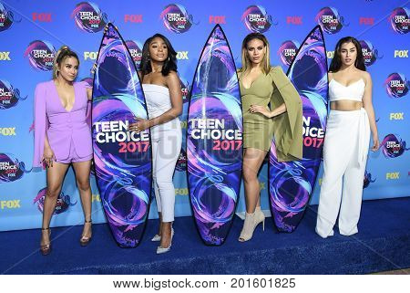LOS ANGELES - AUG 13:  Fifth Harmony arrives for the Teen Choice Awards 2017 on August 13, 2017 in Los Angeles, CA