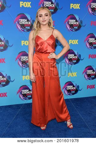 LOS ANGELES - AUG 13:  Peyton List arrives for the Teen Choice Awards 2017 on August 13, 2017 in Los Angeles, CA
