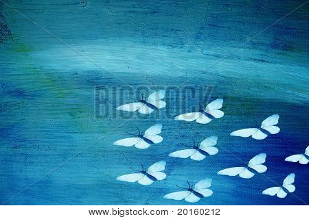 butterflies migrating on rough textured background