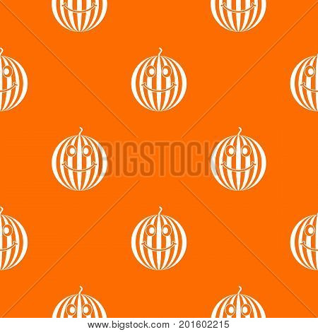 Ripe smiling watermelon pattern repeat seamless in orange color for any design. Vector geometric illustration