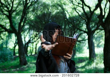Picture of witch with spell book