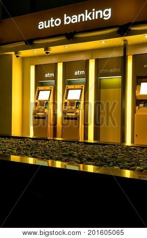 ATM machine, the station automatic machines in yellow scheme.