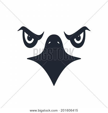 Sharp eyed furious eagle face on white background. Vector illustration.
