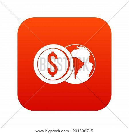 World planet and dollar coin icon digital red for any design isolated on white vector illustration