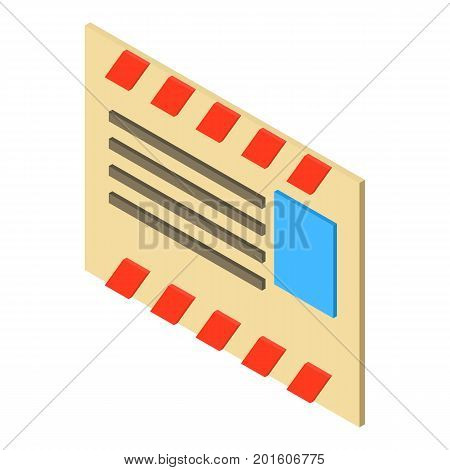 Old post envelope icon. Isometric illustration of old post envelope vector icon for web