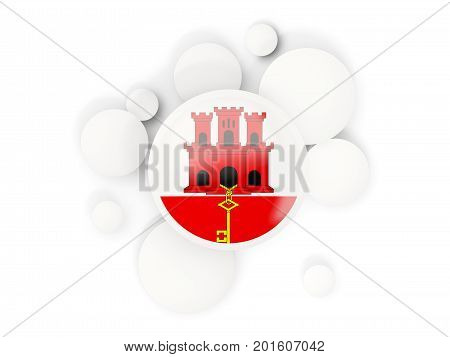 Round Flag Of Gibraltar With Circles Pattern