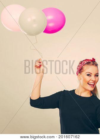 Smiling Crazy Girl Having Fun With Balloons.