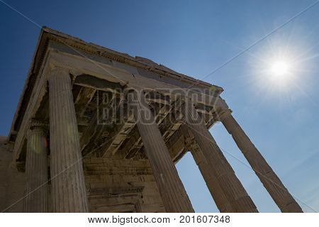 erechtheum temple in acropolis area  athens, greece