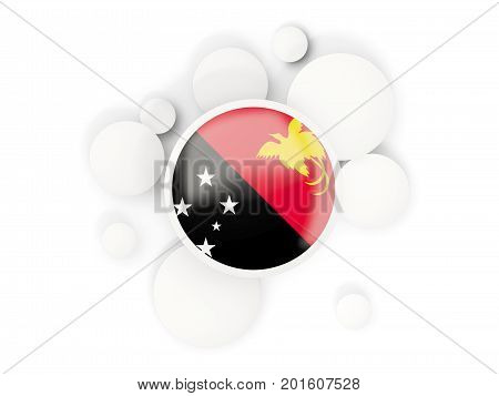 Round Flag Of Papua New Guinea With Circles Pattern