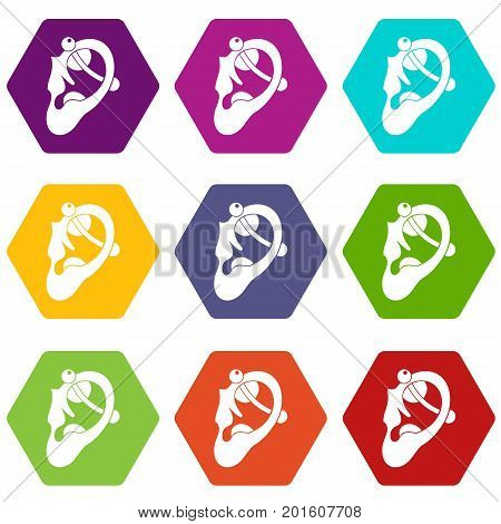 Human ear with piercing icon set many color hexahedron isolated on white vector illustration