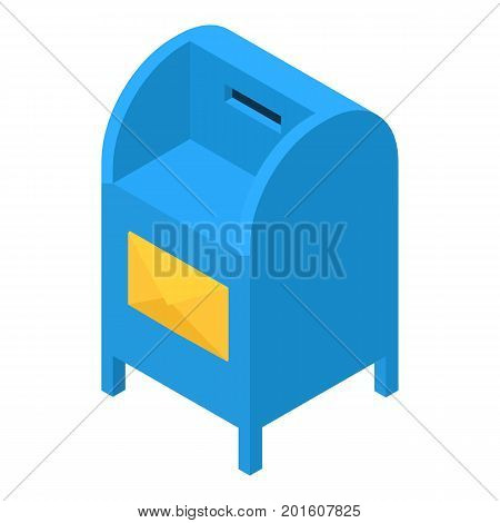 Blue mailbox icon. Isometric illustration of blue mailbox vector icon for web