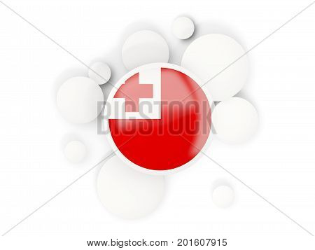 Round Flag Of Tonga With Circles Pattern