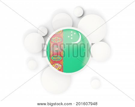 Round Flag Of Turkmenistan With Circles Pattern