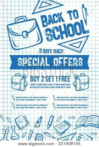 Back to School special offer poster or seasonal sale web banner. School stationery and education supplies on vector copybook checkered ink patern background for august or september sale shopping