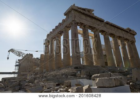 parthenon in acropolis from the back, athens, greece