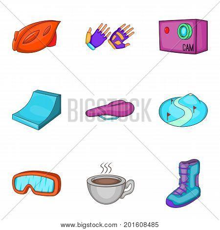 Slalom icons set. Cartoon set of 9 slalom vector icons for web isolated on white background