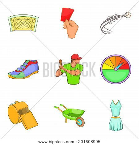 Fair game icons set. Cartoon set of 9 fair game vector icons for web isolated on white background