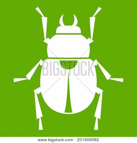 Scarab icon white isolated on green background. Vector illustration