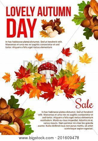 Autumn sale promotion banner template. Fall season leaf and forest mushroom discount offer poster with autumn maple foliage, chanterelle, cep and amanita, acorn and oak branch for retail design