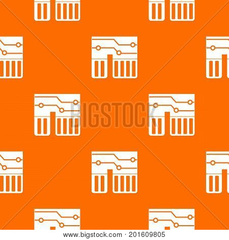 Computer chipset pattern repeat seamless in orange color for any design. Vector geometric illustration