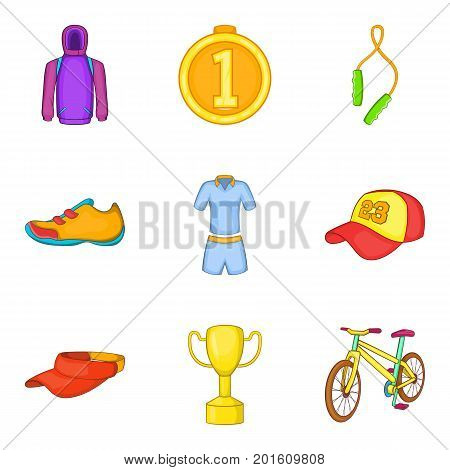 Gold medal icons set. Cartoon set of 9 gold medal vector icons for web isolated on white background