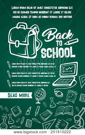 Back to School poster of lesson supplies list for education season design. Vector school rucksack or backpack, books and stationery, computer or pencil and ruler on green chalkboard pattern background