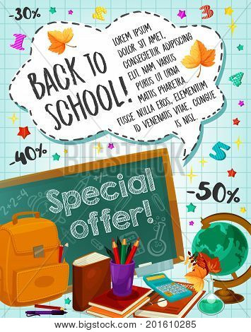 Back to School poster for September seasonal sale or special offer promo for study stationery supplies. Vector design of school bag, ruler or pen and pencil on checkered copybook pattern background