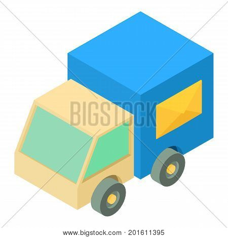Post truck icon. Isometric illustration of post truck vector icon for web