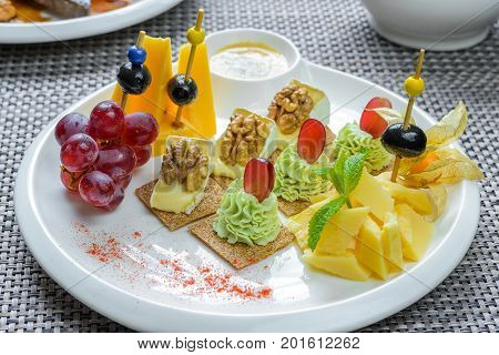 Set of canape and appetizers for wine lovers